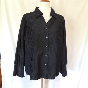 Talbots Embellished Pintuck Jean Top Womens Petite